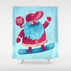 Snowboard Santa Shower Curtain