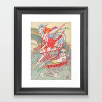 The Legendary Panda Brother & Dragon Sister  / Original A4 Illustration / Colored Pencil & Ink Framed Art Print
