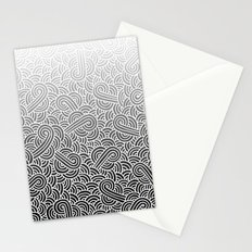 Ombre black and white swirls doodles Stationery Cards