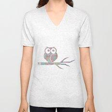 Owl on a branch Unisex V-Neck