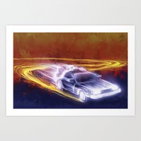 Neon Back To The Future Art Print