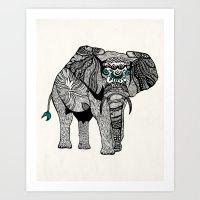 Tribal Elephant Black An… Art Print