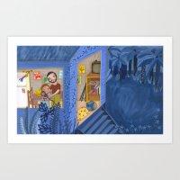 A night in blue Art Print