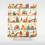 Pinocchio In The City Shower Curtain