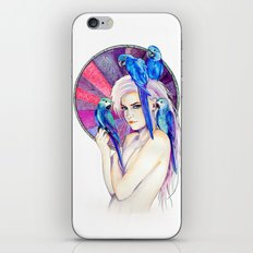 Girl with Parrots iPhone & iPod Skin