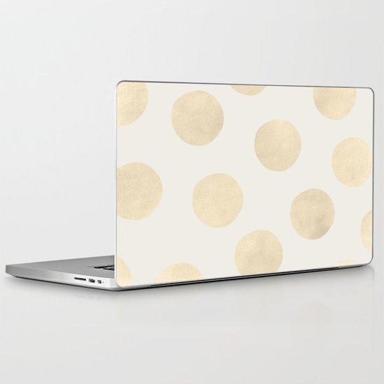 Gold Polka Dots Laptop & iPad Skin