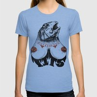 Fishtits Womens Fitted Tee Tri-Blue SMALL