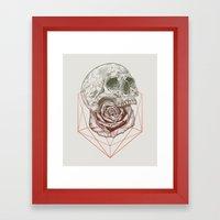 Skull Rose Geo Framed Art Print
