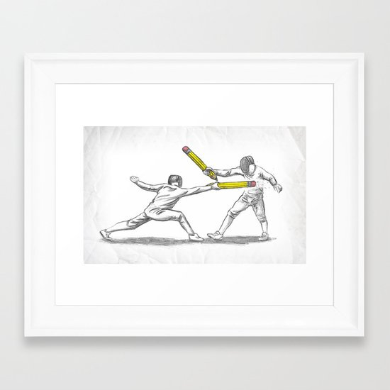 Parry Thrust Pencil Erase Framed Art Print