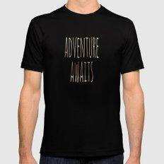 Adventure Awaits II Mens Fitted Tee Black SMALL