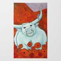 Bull In Poppies Rug