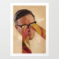 Vintage Business Man with Retro Pattern Laser Eyes Art Print