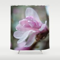 spring pink magnolia flower photography.   Shower Curtain