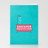 Save Water Shower With A… Stationery Cards