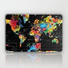 Abstract World Map Black Laptop & iPad Skin