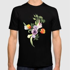 Watercolor spring floral pattern Black Mens Fitted Tee SMALL