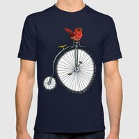 bird on a bicycle. Mens Fitted Tee Navy SMALL