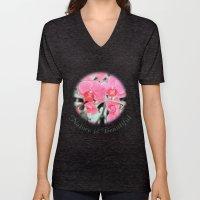 Lovely Pink Orchid Flowe… Unisex V-Neck