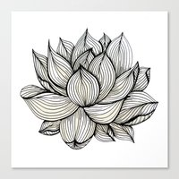 Lotus Flower, Black And … Canvas Print