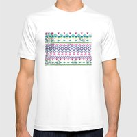 Fluorescent Aztec Mens Fitted Tee White SMALL