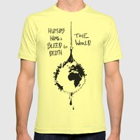 HANG THE WORLD. Mens Fitted Tee Lemon SMALL