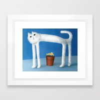 Skinny Cat Framed Art Print