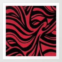 Red & Black Waves Art Print
