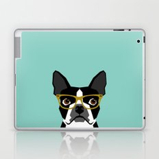 Darby - Boston Terrier pet design with hipster glasses in bold and modern colors for pet lovers Laptop & iPad Skin