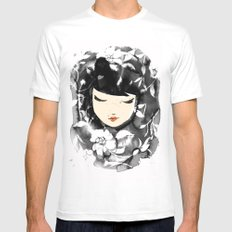 Ink Flower Girl SMALL Mens Fitted Tee White