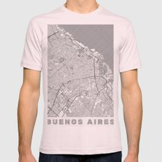 Buenos Aires Map Line Mens Fitted Tee Light Pink SMALL