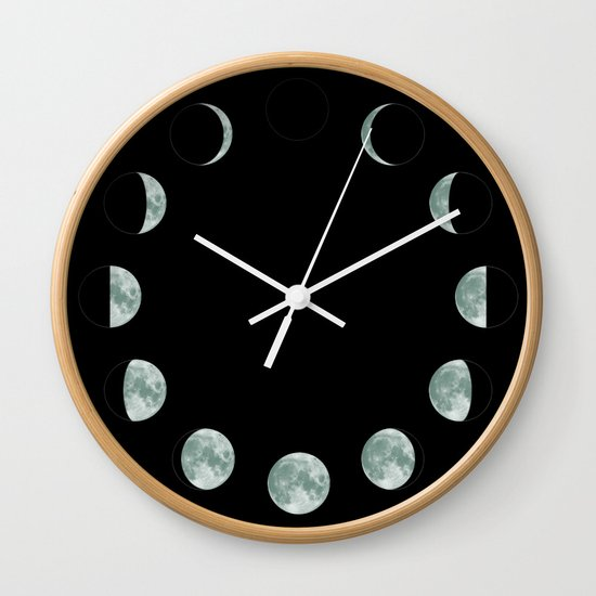 Moon Phases Wall Clock By Shamila Society6