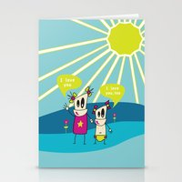 Robot Sisters Blue - A F… Stationery Cards
