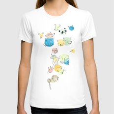 Bubble Animals Womens Fitted Tee White SMALL