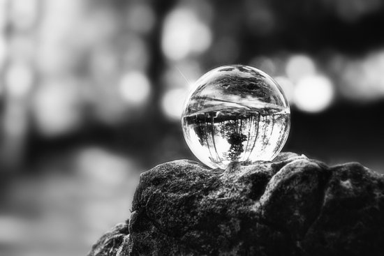 LIFE IN MONO - The glass ball Art Print