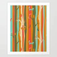 Woodland Stripe Orange Art Print