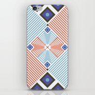 iPhone & iPod Skin featuring Blue Red Stripes by FLATOWL