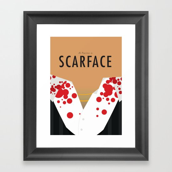 scarface minimalist poster framed art print by