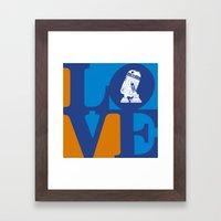 Robot LOVE - Blue Framed Art Print
