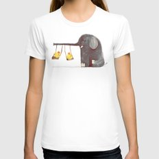 Elephant Swing Womens Fitted Tee White SMALL