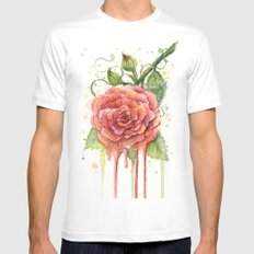 Red Rose Dripping Watercolor Flower SMALL Mens Fitted Tee White