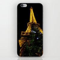 Eiffel Tower lit up at night, Paris iPhone & iPod Skin