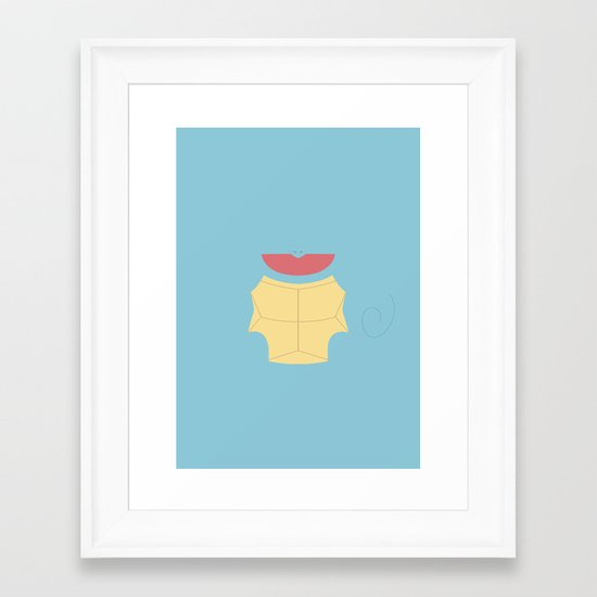 Pokemon - Squirtle Minimalist Framed Art Print