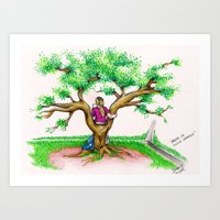 ME ON A SCHOOL TREE - 1994 Art Print