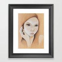 Self Portrait On Wood Framed Art Print