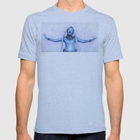 Diva Plavalaguna | Fifth Element Watercolor Art Mens Fitted Tee Athletic Blue SMALL