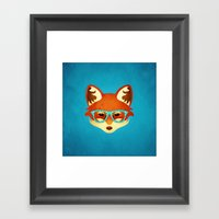Hipster Fox: Azure Framed Art Print