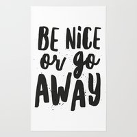 Be Nice or Go Away Typography Lettering Rug