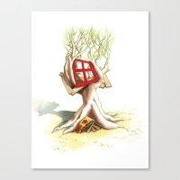 CabanArbre-Fenêtre-Rouge Canvas Print
