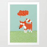 Sleeping Fox Blue Art Print