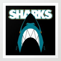 In the Jaws of the Sharks Art Print